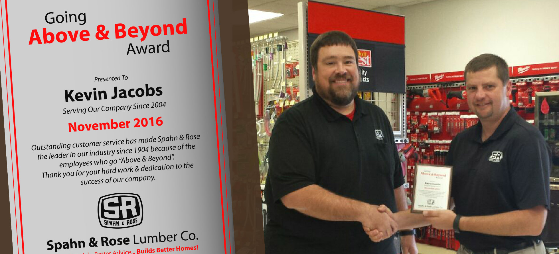 Kevin Above and Beyond Award